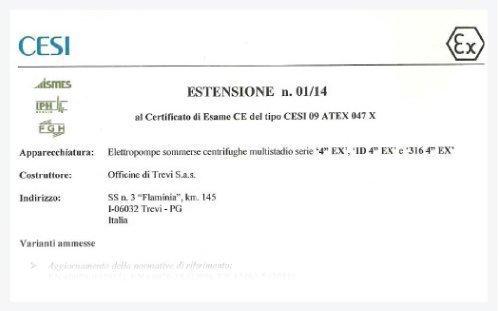 Certificazione ATEX 4″
