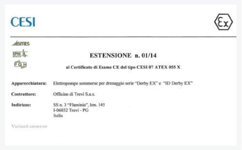 Certificazione Atex Derby