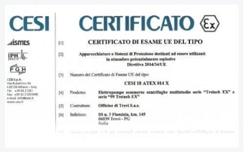 Certificazione Atex Treinch e 99 Treinch