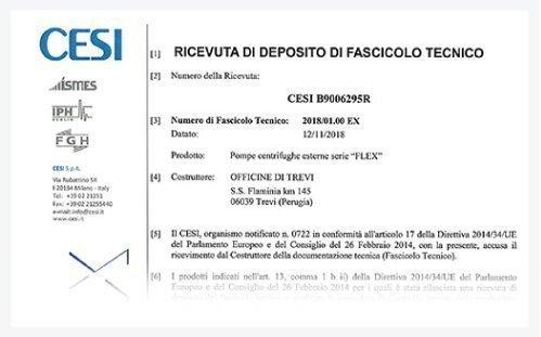 Ricevuta Deposito fascicolo Tecnico FL EX