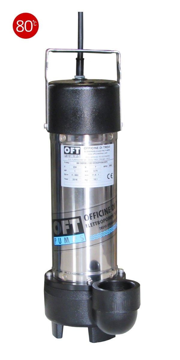 Elettropompe per drenaggio di liquidi contaminati max 80 °C